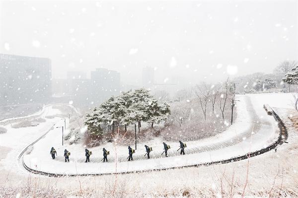 눈 내리는 남산공원 설경을 즐기는 뒤에는 누군가의 수고로움이 있다