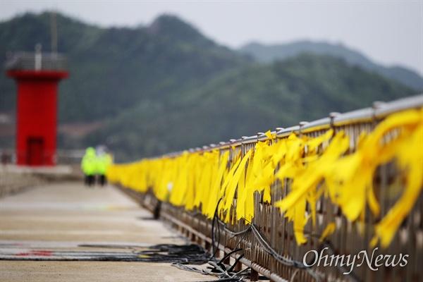 2014년 4월 27일 전남 진도 팽목항에 세월호 실종자들의 무사귀환을 바라는 노란리본이 줄지어 있다.