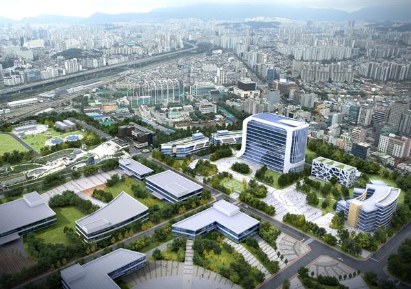 상부의 공원·체육시설과 하부의 하수처리시설로 재조성되는 서울시 물재생센터의 조감도