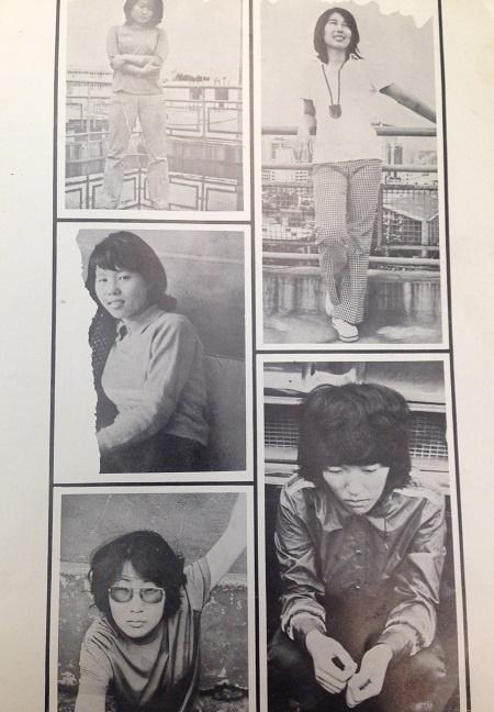 1970년대 카이두 클럽 회원들. 왼쪽 위가 한옥희 아래가 김점선