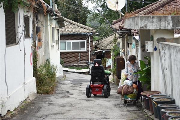할머니가 산에서 열무를 캐고 집으로 들어가고 있다.