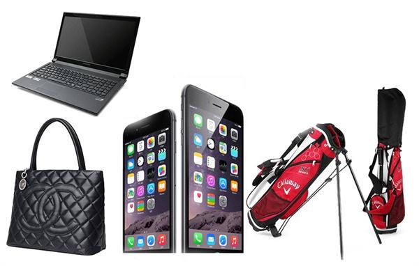 이른바 'IT전당포'에서 취급하는 품목들. 스마트폰과 노트북에서 골프채, 명품 가방까지 망라한다. 인터넷 전당포 게시물을 합성했다.