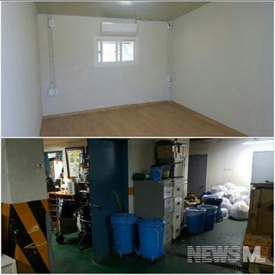 이사할 새로 준비된 청소노동자 휴게실(위), 쓰레기 분리수거장 옆에 위치한 청소노동자 휴게실 입구(아래)