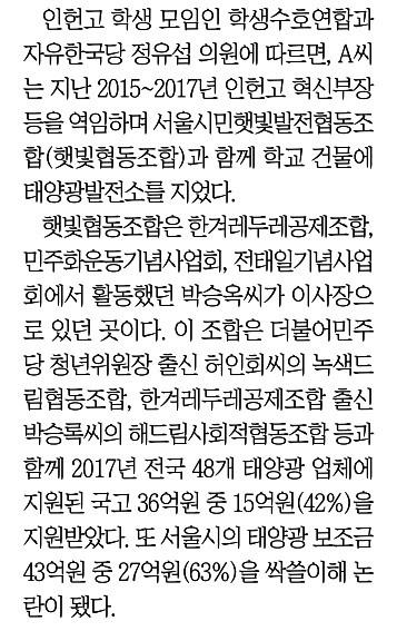 인헌고 교사에 친여 태양광 의혹 입힌 조선일보 기사(10/28)