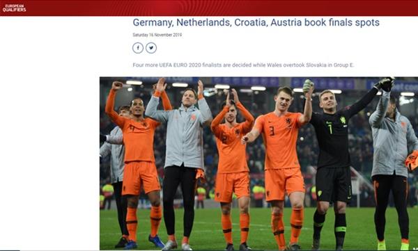 네덜란드 대표팀 네덜란드가 북아일랜드와 무승부를 거두며 유로 2020 본선 진출을 확정지었다.