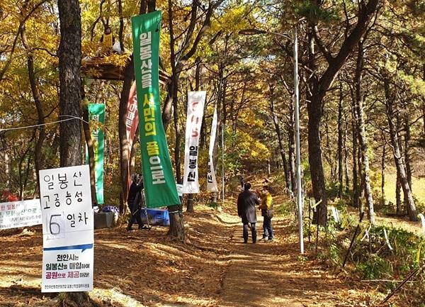 천안시가 일봉산 공원에 민간개발특혜사업으로 2,700여 세대의 대규모 아파트를 건설하려 하자 주민들이 대책위를 결성하고 반대 운동을 벌이고 있다.