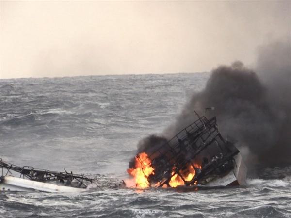 11월 19일 제주 인근 차귀도 서쪽 76km 해상에서 발생한, 통영 선적 연승어선 대성호의 화재 현장.