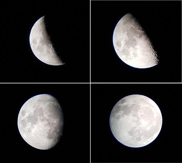 달이 변하는 모습  천체망원경에 연결한 핸드폰으로 찍은 사진이다. 크레이터가 확실하게 보인다.