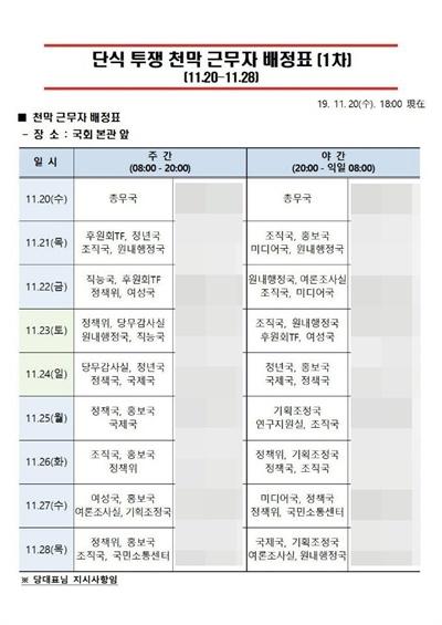 황교안 한국당 대표의 단식 투쟁 지원을 위한 한국당 당직자 근무 배정표