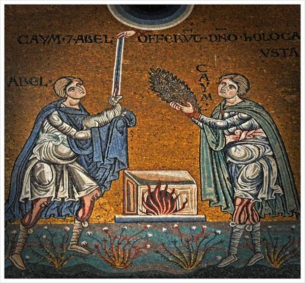 <아벨과 가인의 제사> Abel and Cain offer their sacrifice to God. Byzantine mosaic in the Cathedral of Monreale.