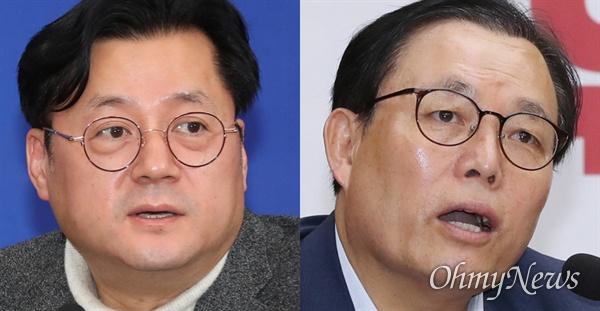 국회 행정안전위원회 여당 간사인 홍익표 민주당 의원(왼쪽)과 야당 간사인 이채익 한국당 의원(오른쪽).
