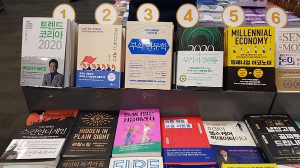 서점 매대  경영경제 매대에 2020년 예측과 세대 담론을 담은 책들이 보인다.