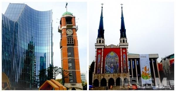 예장합동교단의 사랑의교회(좌), 예장통합교단의 명성교회(우)