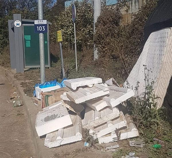 버스 승강장 주변과 도로가에 일반쓰레기에서부터 가구, 가전 등 무분별하게 버려져 있는 쓰레기가 자주 목격된다. 이에 주민들의 쓰레기 분리배출에 대한 시급한 인식개선과 지도단속을 강화해야 한다는 지적이다.