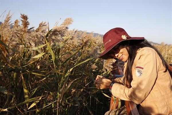 강진만 갈대밭을 찾은 한 여행객이 갈대를 만지며 감성에 젖어 있다. 갈대밭의 서정은 누구라도 시 한 편 읊을 수 있는 시인으로 만들어준다.