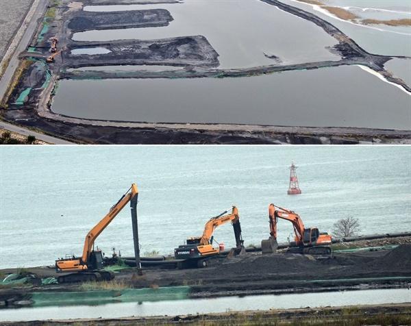 바다를 막은 매립장에 석탄재 매립이 한창이다.
