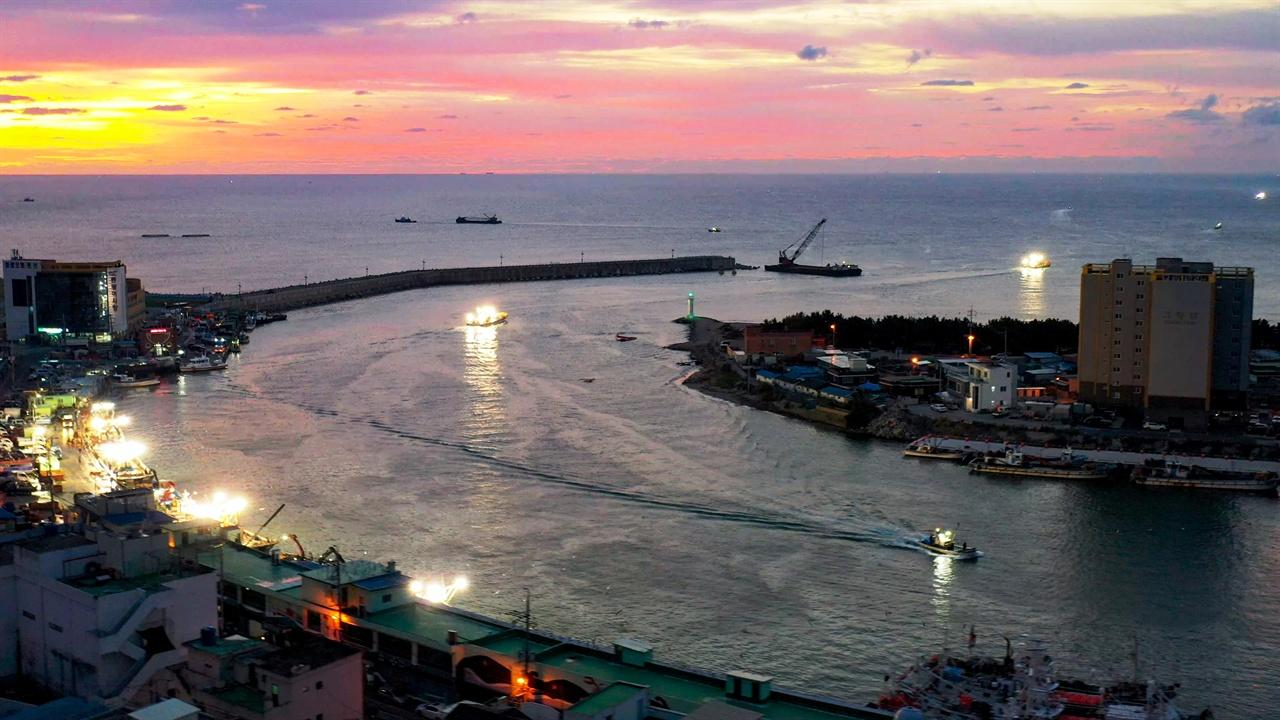 싱싱한 영덕의 해산물이 모이는 새벽의 강구항.