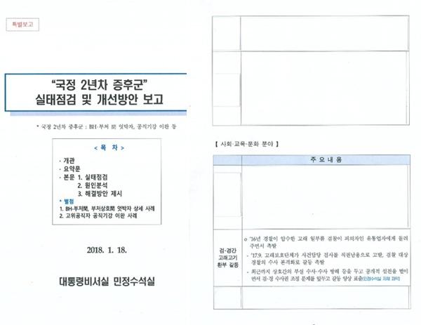 4일 청와대가 공개한 '국정 2년차 증후군 실태점검' 관련 특별보고 문건.