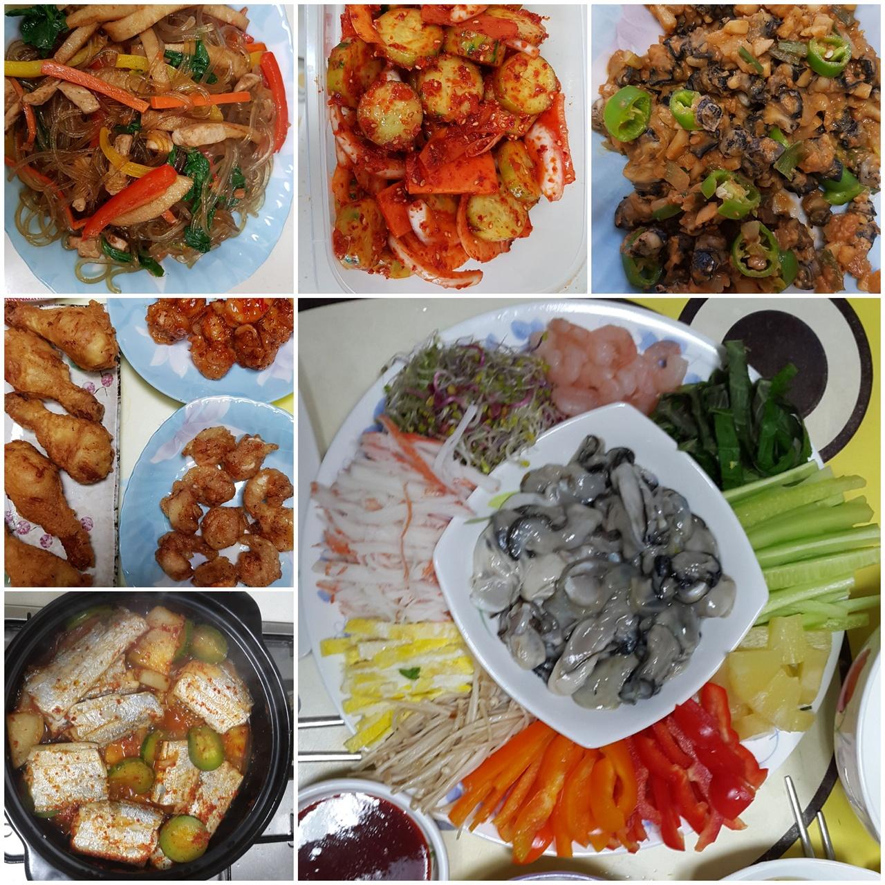 필자가 요리한 것 중 일부? 잡채,오이무침.우렁이쌈밥,통닭&칠리새우,갈치조림,월남쌈