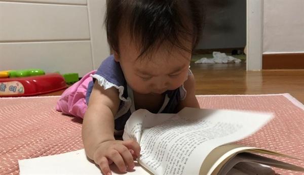 후배의 7개월 된 딸  책장을 넘기며 열심히 책을 보는 모습이 아주 귀엽다.