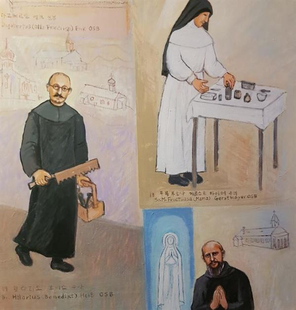북한 순교자 38위, 독일신부와 수도자 23명, 한국신부 11명, 원산수녀원소속 수녀 3명, 봉헌자 1명 등이다