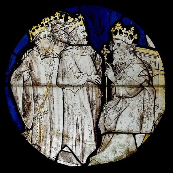 <헤롯과 동방 박사> 스테인드글라스, 15세기 초 제작(1999 년 F. Pivet 복원)