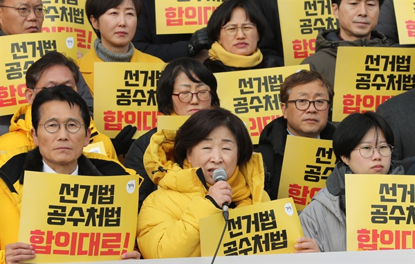 정의당 심상정 대표가 9일 오후 서울 여의도 국회 본청 계단 앞에서 열린 패스트트랙법 통과를 위한 정의당 결의대회에서 발언하고 있다.