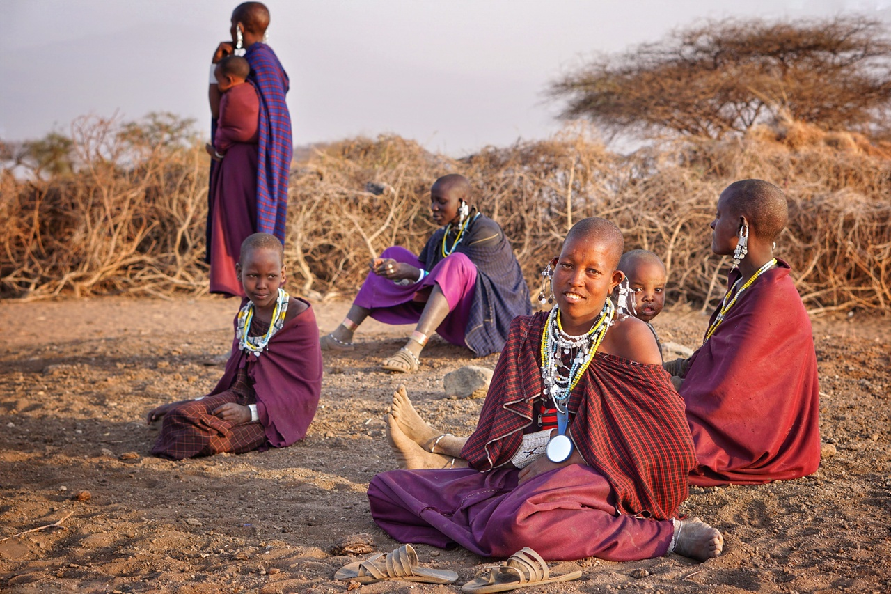 해 질 녘, 집으로 돌아오는 소와 염소와 가족을 마중 나온 마사이 마을 여성들과 아이들