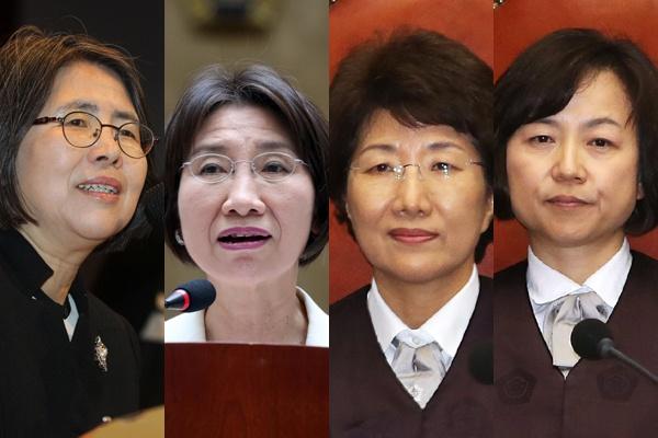 1~4대 여성 대법관. 왼쪽부터 김영란, 전수안, 박보영, 김소영 전 대법관