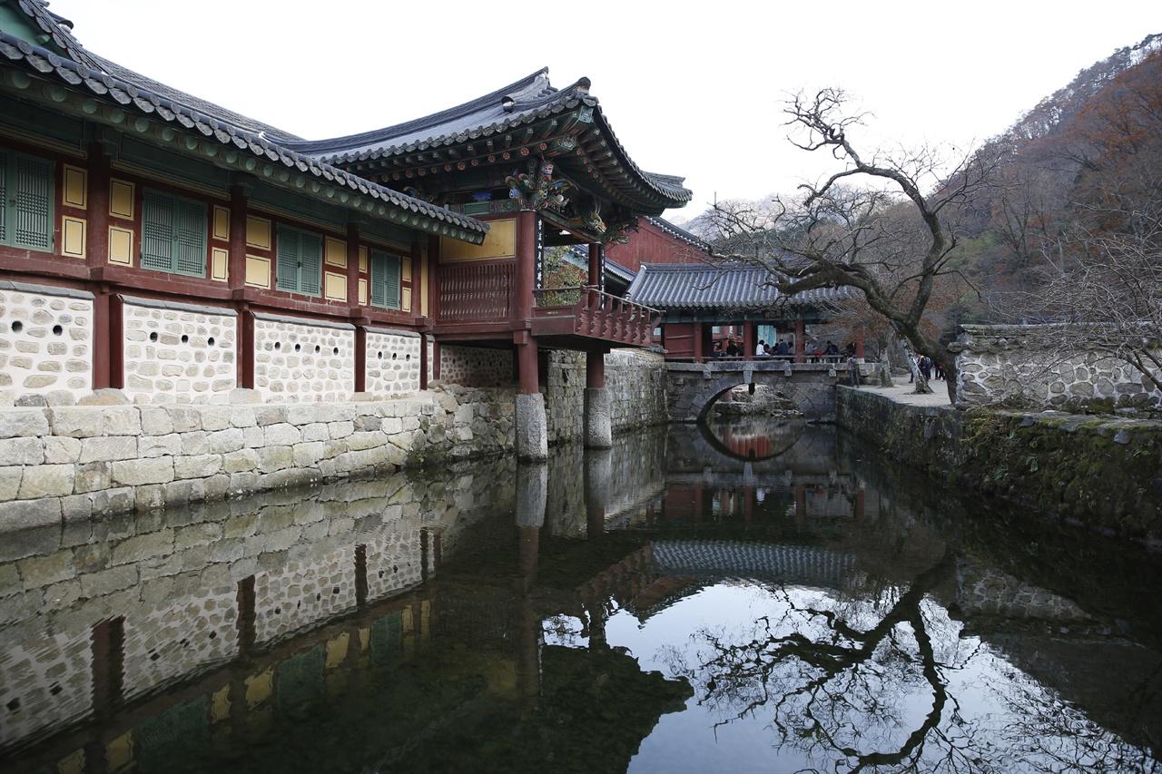 계곡의 축대 위에 기둥을 세운 임경당과 다리 위에 누각을 얹은 우화각 풍경. 송광사를 대표하는 사진 구도이다.