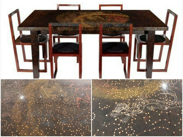위는 천상열차 분야지도와 오신도로 만들어진 탁자와 의자. 아래는 탁자의 일부.