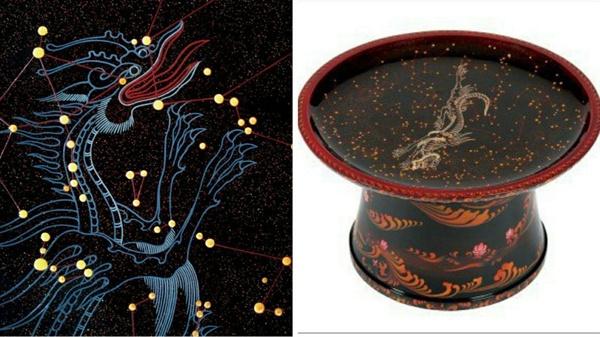 왼쪽은 천상의 세게와 가을 별자리 일부 확대. 오른쪽은 천상의 세계와 봄 별자리.