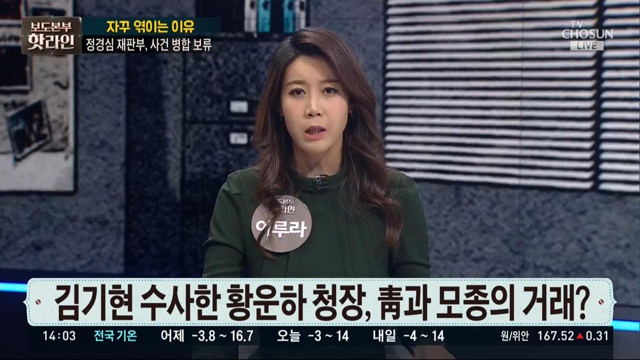 자유한국당 주장 그대로 전달한 이루라 씨 TV조선 <보도본부 핫라인>(11/27)