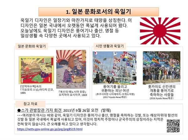 일본 외무성에 게재된 욱일기 관련 설명(한국어판)