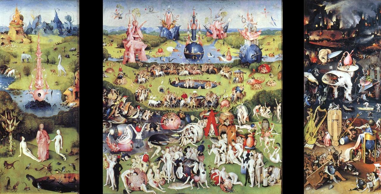 보스, <세속적 쾌락의 정원>, 1490-1500, 참나무에 유채, 220 x 389 cm, 프라도 미술관, 마드리드