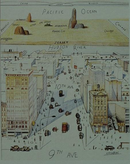 1976년 <THE NEW YORKER> 표지 9번가에서 본 세계관, Saul Steinberg작