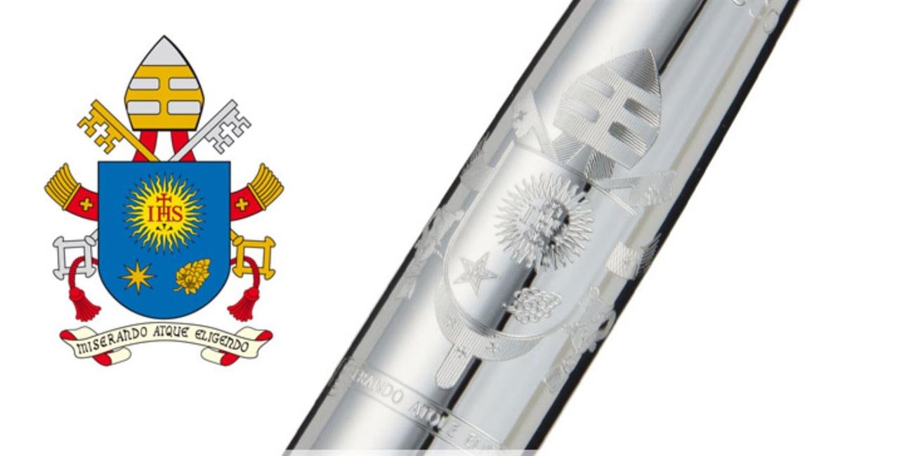 교황 프란치스코 문장 오로라 볼펜 교황 프란치스코에 새겨진 문장입니다(이해를 돕기 위한 캡처 사진임을 밝힙니다).