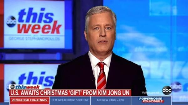 로버트 오브라이언 백악관 국가안보보좌관의 북한 관련 ABC방송 인터뷰 갈무리.