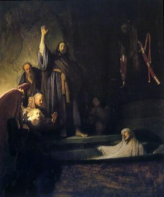 렘브란트의 그림 <라자로의 부활>. 신약성서 '요한의 복음서' 11장에는 베다니아에서 예수가 죽은 라자로를 기적을 베풀어 살려냈다고 기록되어 있다.