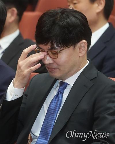 한동훈 대검찰청 반부패강력부장이 2일 오후 서울 서초구 대감찰청에서 열린 2020년도 신년다짐회에 참석하고 있다.