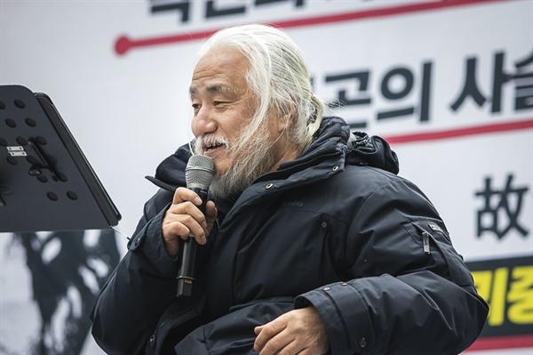 박경석 전국장애인 야학 이사장이 발언을 하고있다.