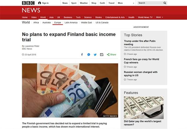 2018년 말, 핀란드가 기본소득 실험을 연장하지 않기로 했다는 소식을 전하는 언론기사