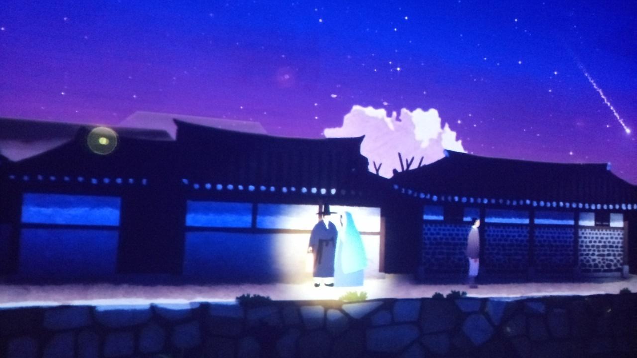 수표교 전시회 영상관에서 조선시대 모습을 상영하고 있다