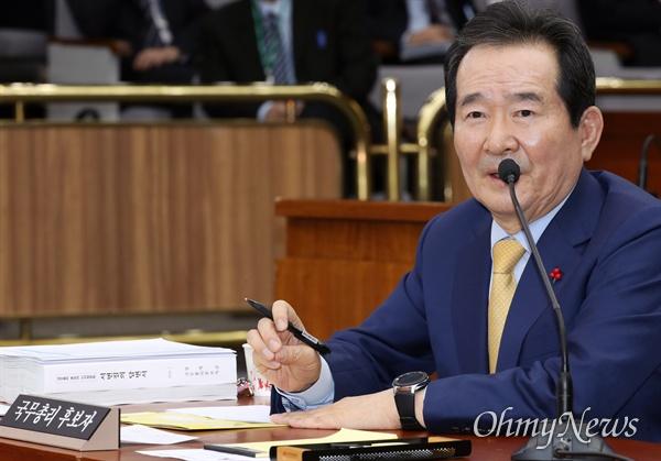 답변하는 정세균 후보자 정세균 국무총리 후보자가 7일 오후 서울 여의도 국회에서 열린 인사청문회에서 의원들의 질의에 답변하고 있다.