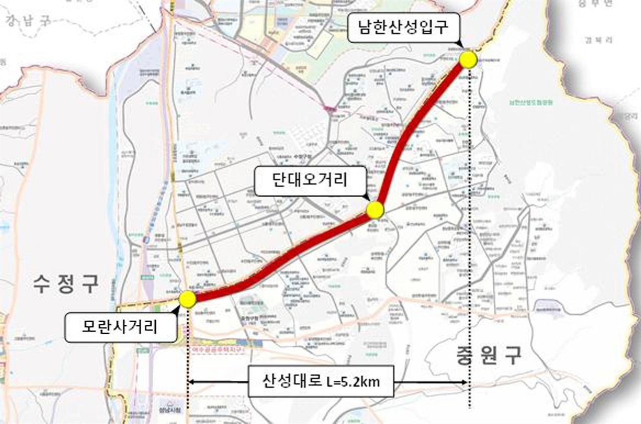 대중교통과-성남 산성대로 S-BRT 시범사업 구간 위치도