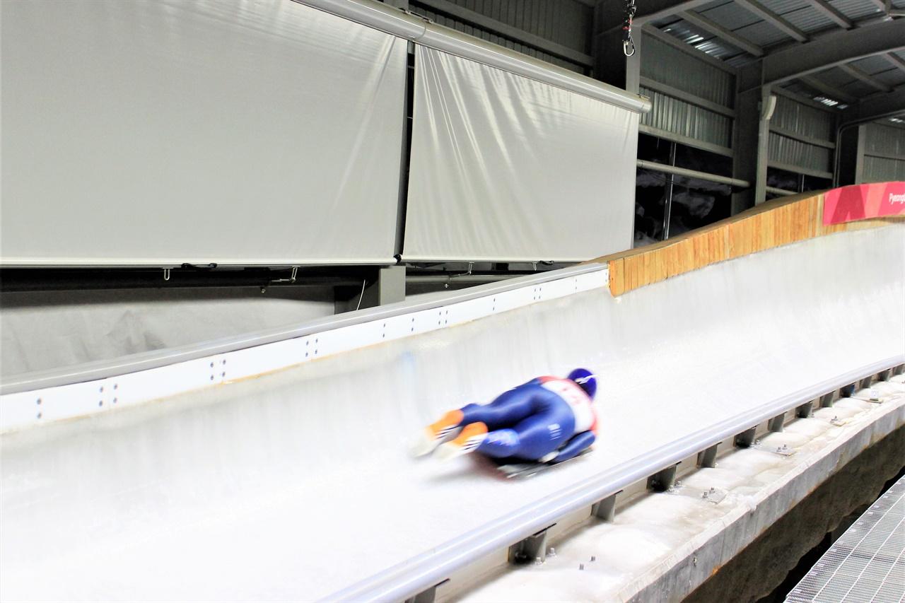 평창 동계올림픽 당시 스켈레톤 경기의 모습.