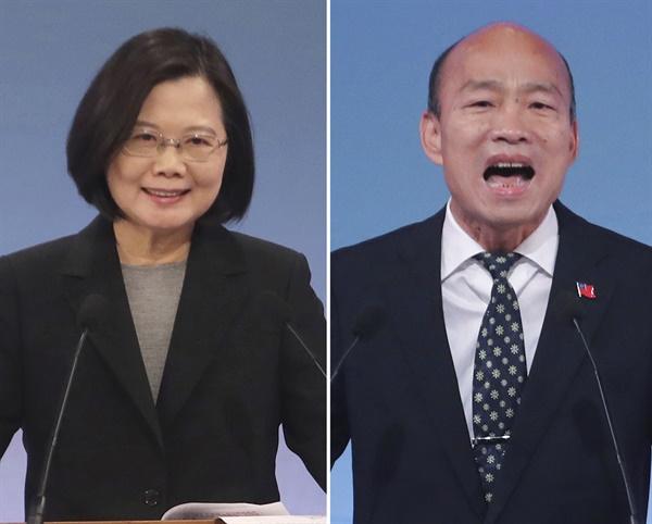 지난 2019년 12월 29일 대만 타이베이에서 열린 대선 후보 마지막 TV 토론에 참여한 민진당 당시 후보인 차이잉원 총통(왼쪽)과 국민당의 한궈위 당시 후보.