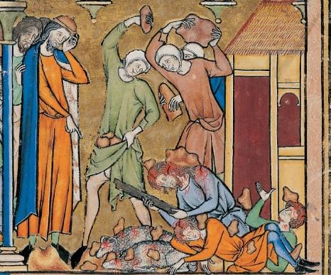<돌팔매질 당하는 아간과 가족> 13세기, '마체요프스키 성경'(Maciejowski Bible)