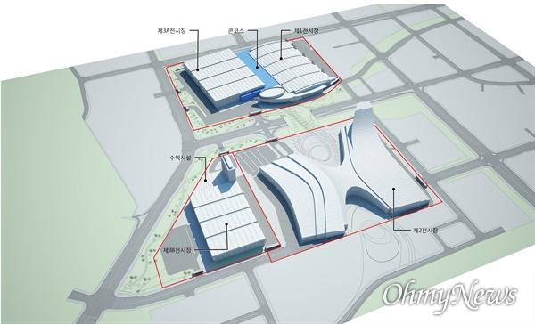 경기도와 고양시, 대한무역투자진흥공사(KOTRA)의 숙원사업이었던 킨텍스 제3전시장 건립 사업이 1월 15일 기획재정부 예비타당성조사(예타)를 통과했다. 사진은 킨텍스 제3저시장 조감도.