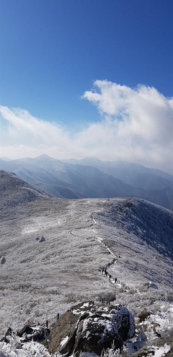 덕유평전   중봉과 백암봉 사이 펀펀한 땅이 하얀색으로 변했다.